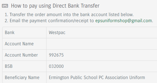 Direct Bank Transfer Instructions
